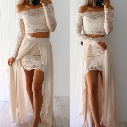 Two Pieces Lace Prom Dress,Long Pro..