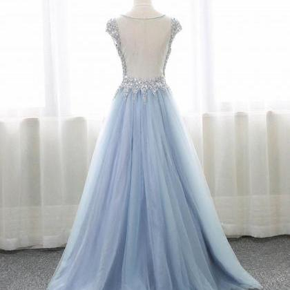 Light Sky Blue Prom Dress,Long Even..