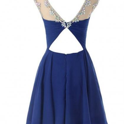 royal blue simple homecoming dresssexy party dress