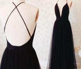 Backless V-Neck Prom..