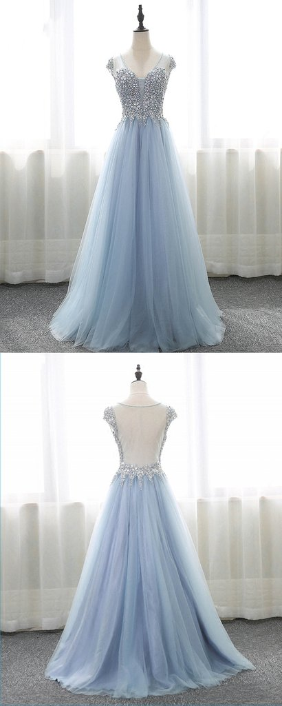 Light Sky Blue Prom Dress,Long Evening Dress,Long Prom Dresses,Quinceanera Dresses,Prom Dresses Z408