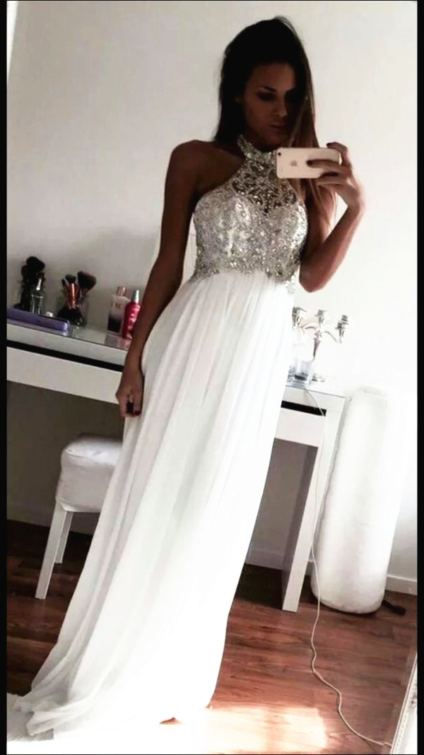Halter White A-Line Beading Prom Dresses 9a9a5f836