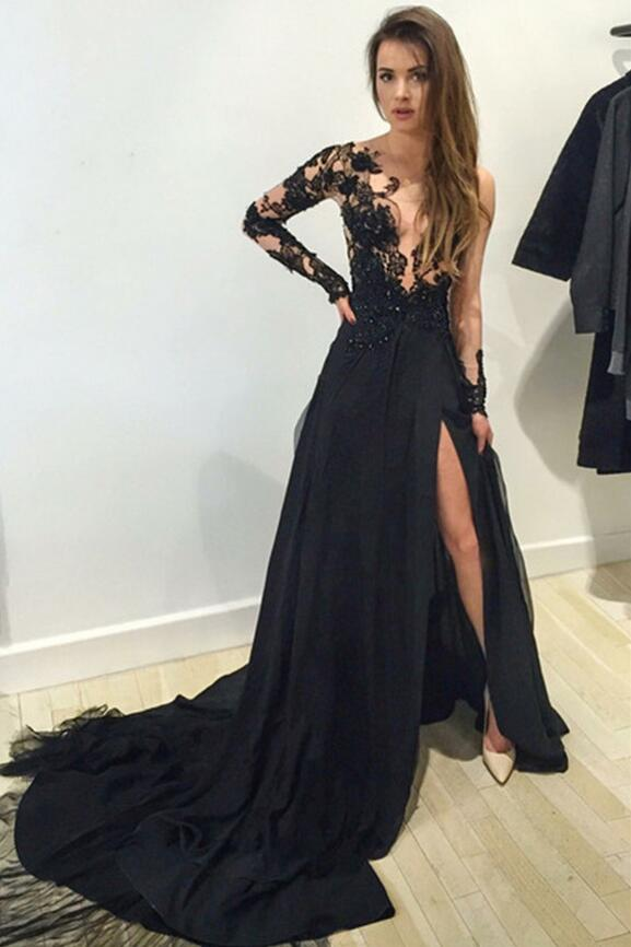 Black Long Sleeve Prom Dress,Long Prom Dresses,Charming Prom Dresses ...