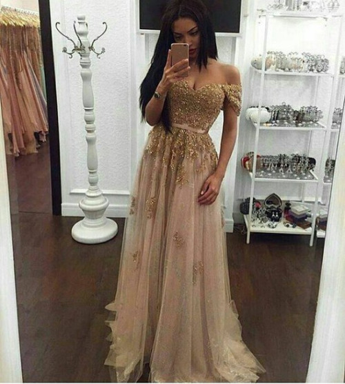 c50aa926818 Off The Shoulder Gold Prom Dress