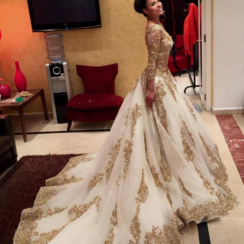 Gold lace long sleeve prom dress long prom dresses for Long sleeve indian wedding dresses