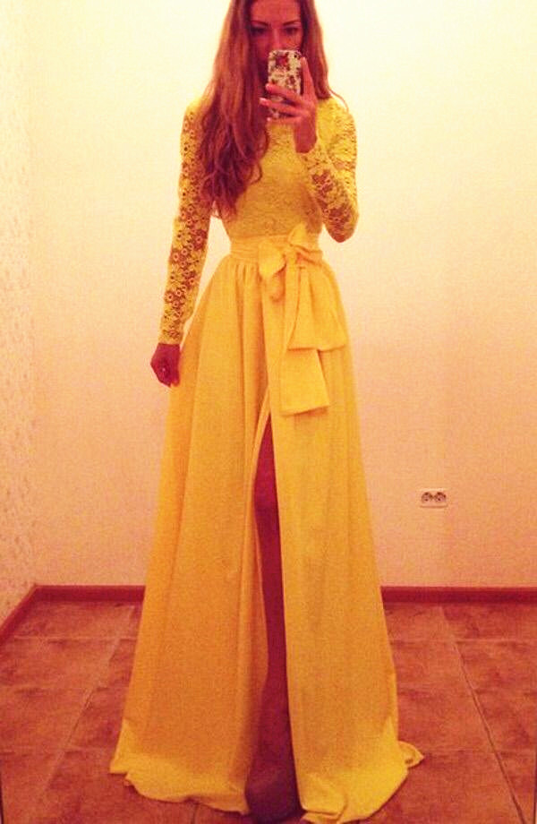 Long Sleeve Lace Prom Dress,Long Prom Dresses,Charming Prom Dresses ...