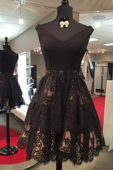 Black Lace Homecoming Dress,Short Prom Dresses,Cocktail Dress,Homecoming Dress,Graduation Dress,Party Dress,Short Homecoming Dress Z207