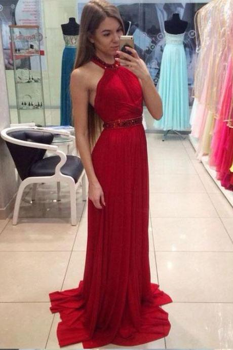 Red Halter Elegant Prom Dress,Long Prom Dresses,Prom Dresses,Evening Dress, Evening Dresses,Prom Gowns, Formal Women Dress Z299