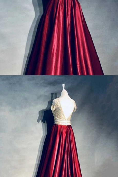 Burgundy Beaded Prom Dress,Long Evening Dress,Evening Dress,Sweet 16 Dress,Long Prom Dresses,Quinceanera Dresses,Prom Dresses Z383