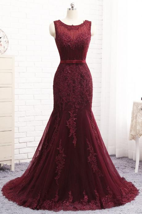 Mermaid Burgundy Real Made Prom Dresses,Fancy Dresses,Prom Dress,Prom Dresses,Long Prom Dress Z484