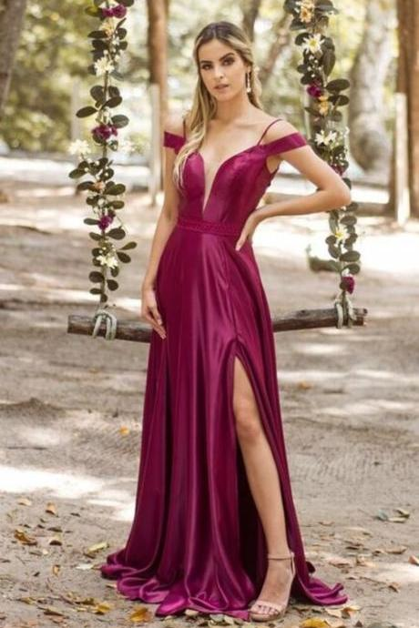 Spaghetti Straps V-Neck Prom Dresses,Fancy Dresses,Prom Dress,Prom Dresses,Long Prom Dress Z492