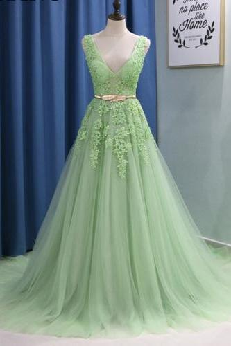 V-Neck Light Green A-Line Prom Dresses,Fancy Dresses,Prom Dress,Prom Dresses,Long Prom Dress Z495