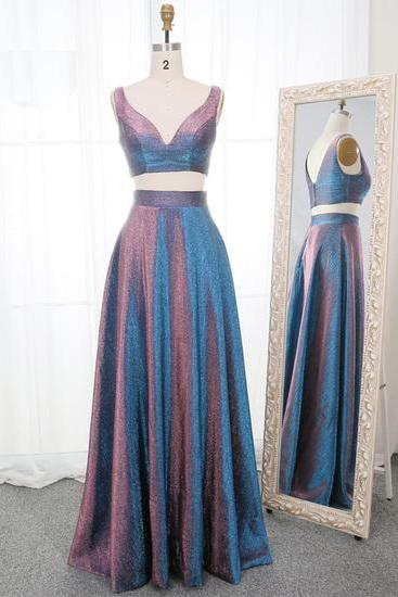 Two Pieces Sparkly A-Line Prom Dresses,Fancy Dresses,Prom Dress,Prom Dresses,Long Prom Dress Z496