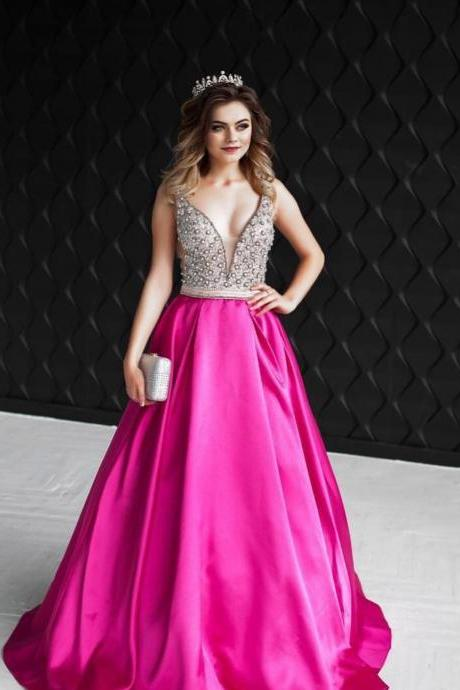 V-Neck Beaded Ball Gown Prom Dresses,Fancy Dresses,Prom Dress,Prom Dresses,Long Prom Dress Z498