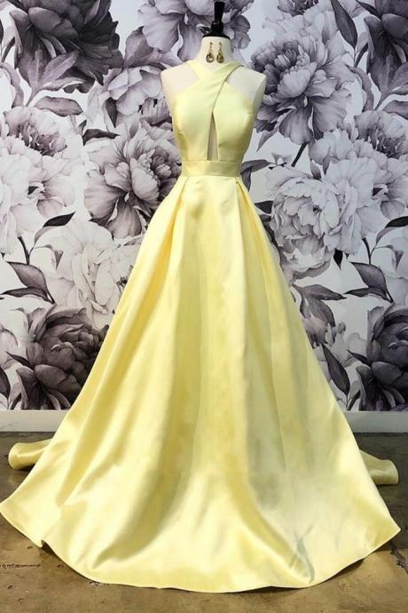 Halter Yellow Ball Gown Prom Dresses,Fancy Dresses,Prom Dress,Prom Dresses,Long Prom Dress Z451
