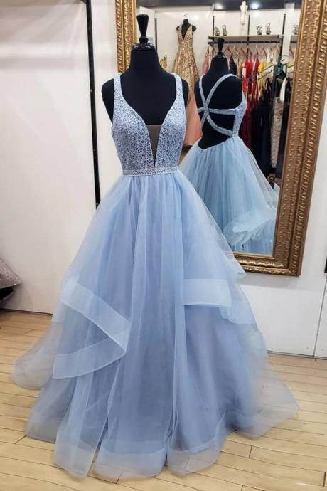 V-Neck Ball Gown Prom Dresses,Fancy Dresses,Prom Dress,Prom Dresses,Long Prom Dress Z452