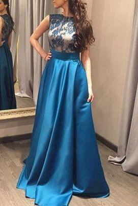 Royal Blue Satin Prom Dresses,Long Prom Dresses,Cheap Prom Dresses,Lace Evening Dress Prom Gowns, Formal Women Dress,Prom Dress,F01