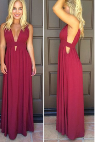 V-Neck Simple Prom Dress,Long Prom Dresses,Cheap Prom Dresses,Evening Dress Prom Gowns, Custom Made Formal Women Dress,prom dress,F41