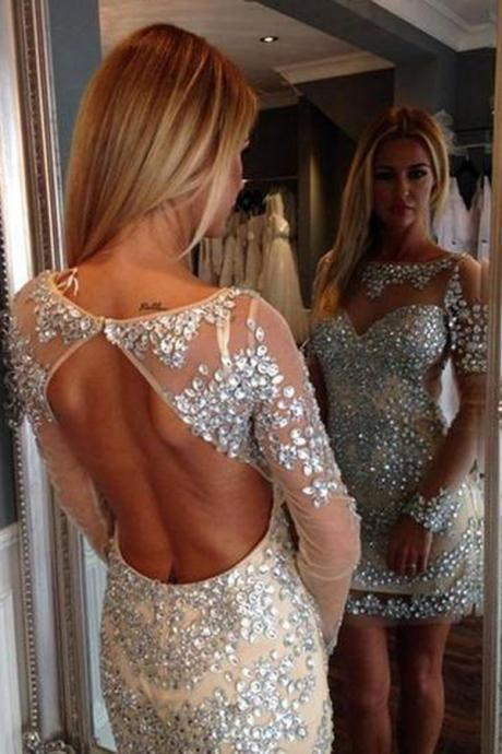Backless Beading Homecoming Dress,Sexy Party Dress,Charming Homecoming Dress,Cheap Homecoming Dress,Homecoming Dress,H11