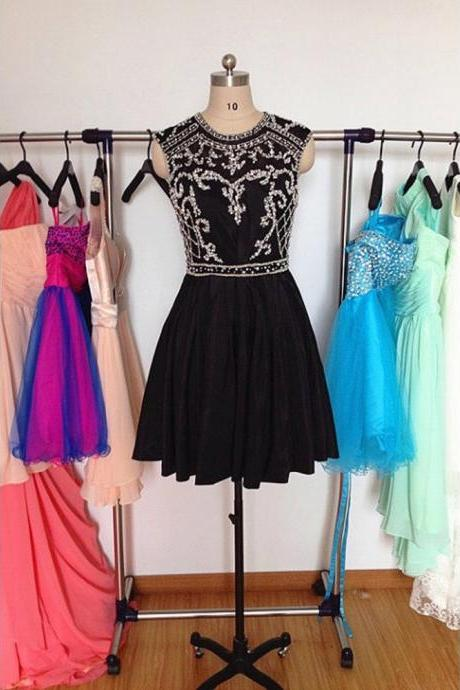 Black O-Neck Beading Homecoming Dress,Sexy Party Dress,Charming Homecoming Dress,Cheap Homecoming Dress,Homecoming Dress,H16