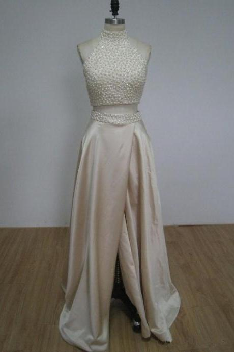 Two Pieces Ivory Beading Prom Dress,Long Prom Dresses,Cheap Prom Dresses,Evening Dress Prom Gowns, Custom Made Formal Women Dress,prom dress,F51