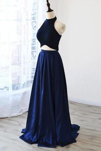 Dark Navy Halter Prom Dress,Long Prom Dresses,Cheap Prom Dresses,Evening Dress Prom Gowns, Formal Women Dress,prom dress,F70