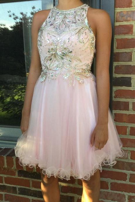 Halter Pink Homecoming Dress,Sexy Party Dress,Charming Homecoming Dress,Graduation Dress,Homecoming Dress ,H108