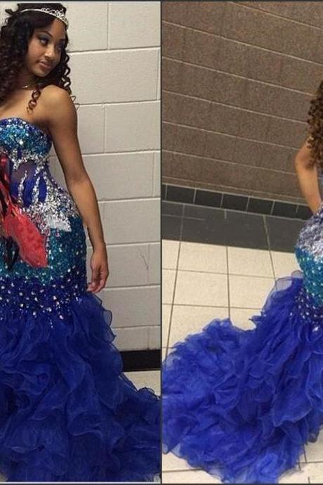 Royal Blue Beading Mermaid Prom Dress,Long Prom Dresses,Charming Prom Dresses,Evening Dress Prom Gowns, Formal Women Dress,prom dress,F176