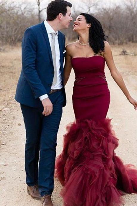 Burgundy Mermaid Prom Dress,Long Prom Dresses,Charming Prom Dresses,Evening Dress, Prom Gowns, Formal Women Dress,prom dress,F277