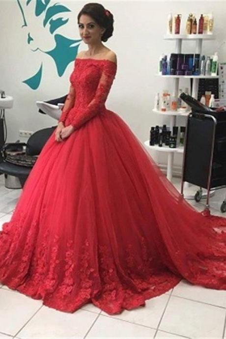 Red Ball Gown Lace Prom Dress,Long Prom Dresses,Charming Prom Dresses,Evening Dress Prom Gowns, Formal Women Dress,prom dress,X17