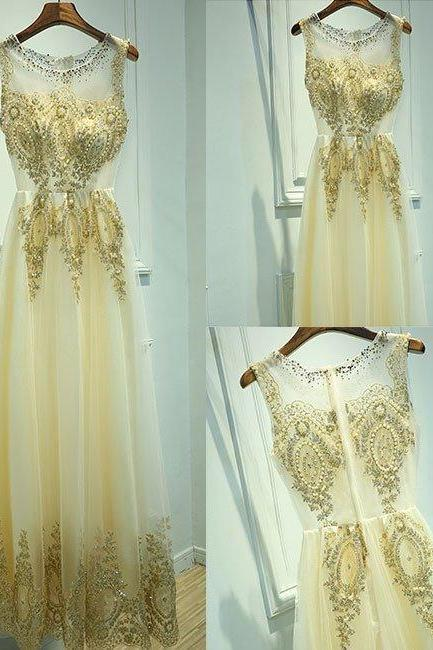 Gold Tulle Prom Dress,Long Prom Dresses,Charming Prom Dresses,Evening Dress Prom Gowns, Formal Women Dress,prom dress,X47