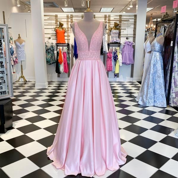 Pink V-Neck Prom Dresses,Fancy Dresses,Prom Dress,Prom Dresses,Long Prom Dress Z461