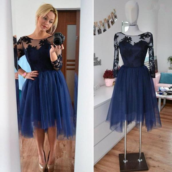 Dark Navy Lace Homecoming Dress,Sexy Party Dress,Charming Homecoming Dress,Cheap Homecoming Dress,Homecoming Dress,H42