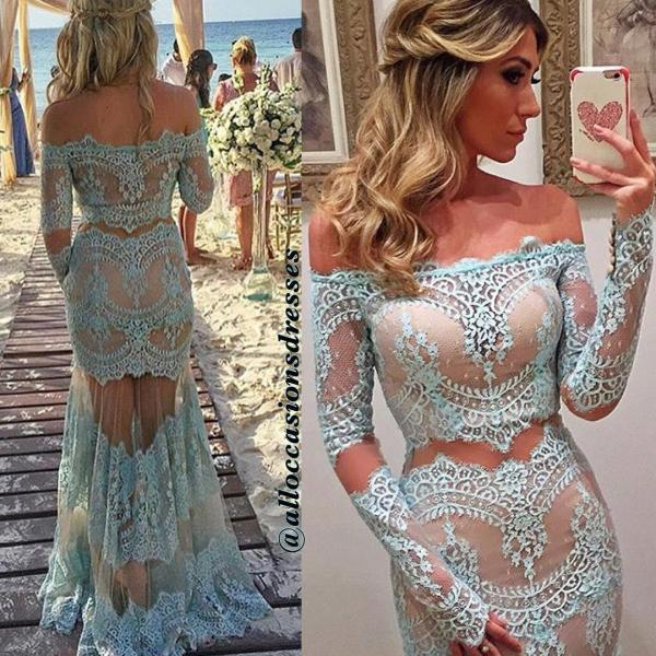 Two Pieces Lace Prom Dress,Long Prom Dresses,Charming Prom Dresses,Evening Dress Prom Gowns, Formal Women Dress,prom dress,X39